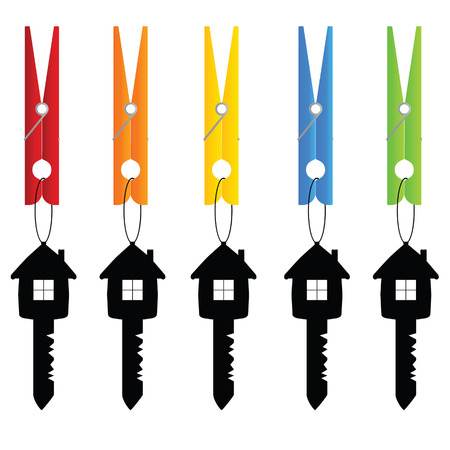 pegs: clothespin holding key home vector art illustration