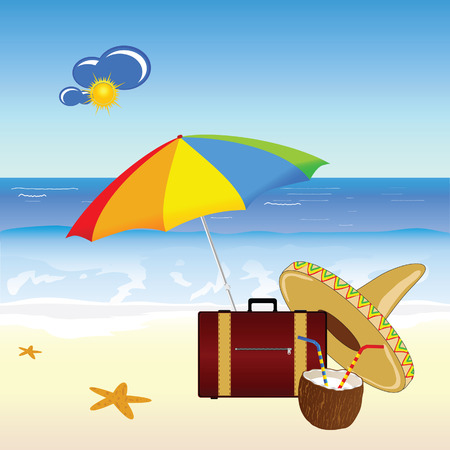 freshens: coconut and beach stuff vector illustration