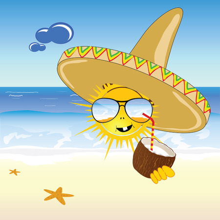 coconut and sun on the beach vector illustration Vector