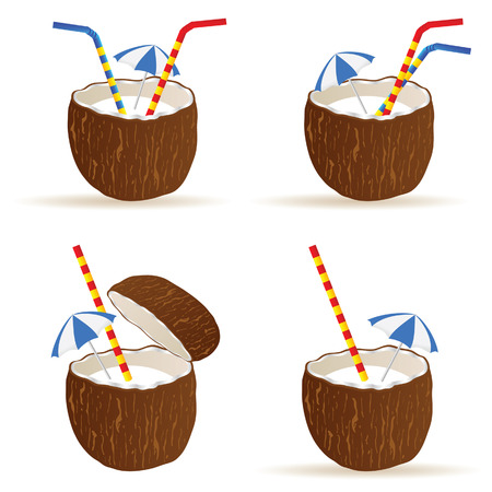 freshens: coconut cocktail vector illustration