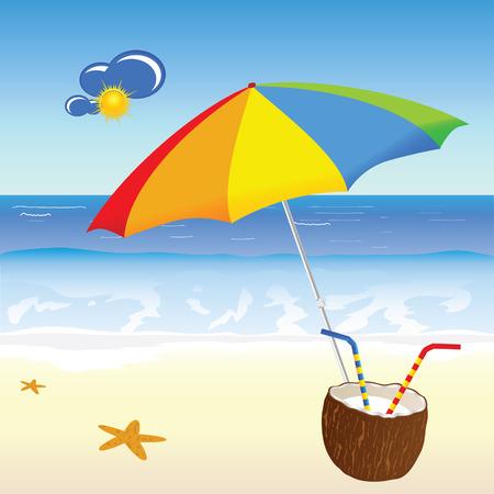 coconut milk: coconut milk on the beach vector illustration