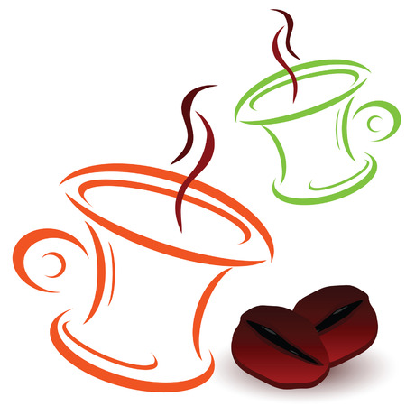 caffe: coffee bean and cups art vector illustration