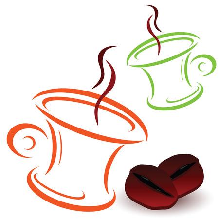 cappucino: koffieboon en bekers art vector illustratie