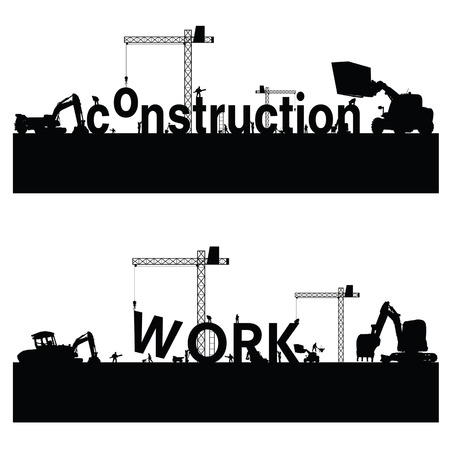 wheeled tractor: construction work vector illustration Illustration