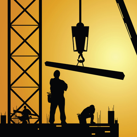 constuction: constuction worker at work with crane illustration