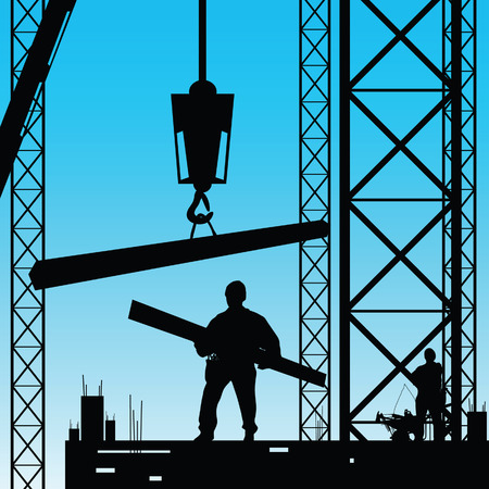 constuction: constuction worker silhouette at work vector illustration