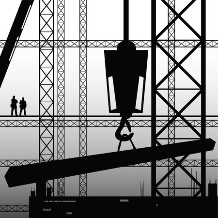 construction worker supervise the work illustration vector