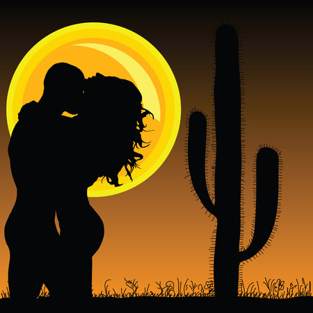 sun illustration: couple in love with cactus and sun illustration