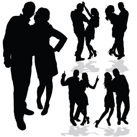 paar man en vrouw in de liefde zwarte silhouet