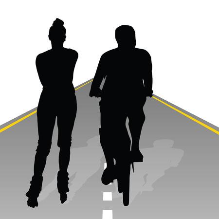 recreate: couple recreate on bike and roller art vector silhouette Illustration