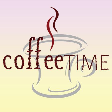 cappucino: koffietijd bean woord vector kunst illustratie