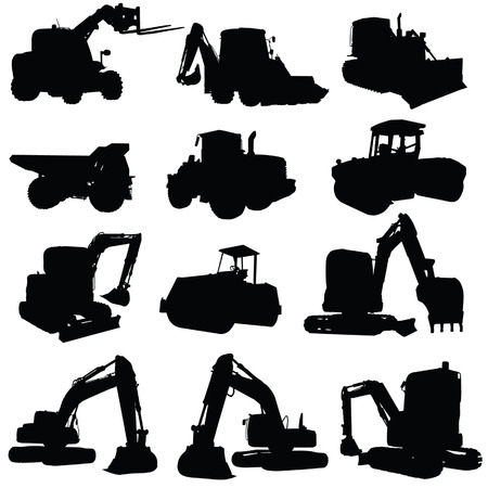 construction vehicle black silhouette on white background  イラスト・ベクター素材