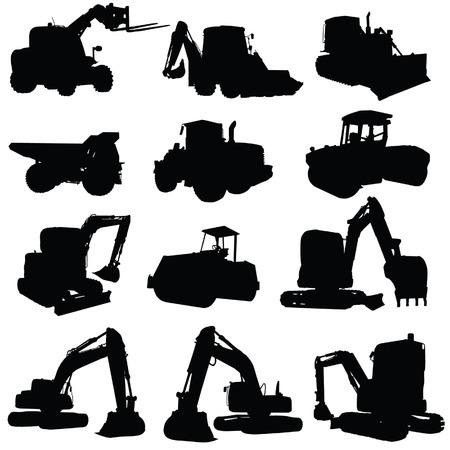 dumper: construction vehicle black silhouette on white background Illustration