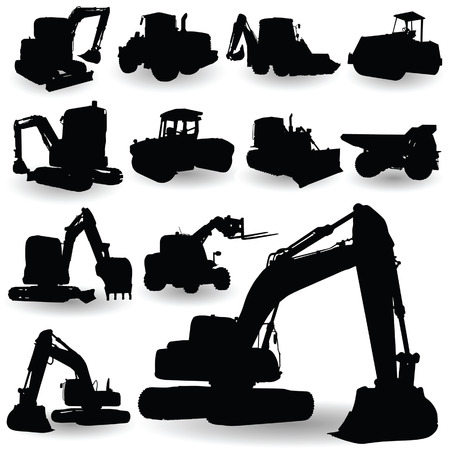 dredging tools: construction work machine silhouette on white backlground Illustration