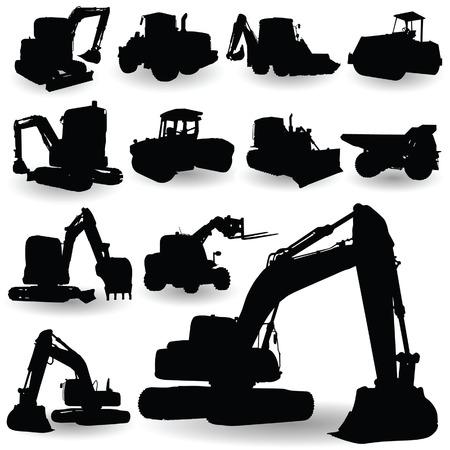 slog: construction work machine silhouette on white backlground Illustration
