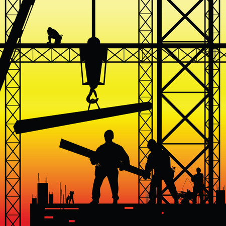 site: construction worker at work and dusk vector illustration