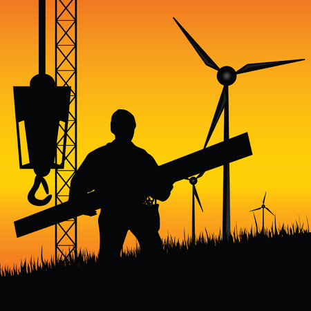 wheeled tractor: construction worker builds windmills vector illustration on a color background