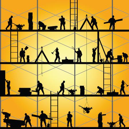 bouwvakker silhouet op het werk vector illustratie Stock Illustratie
