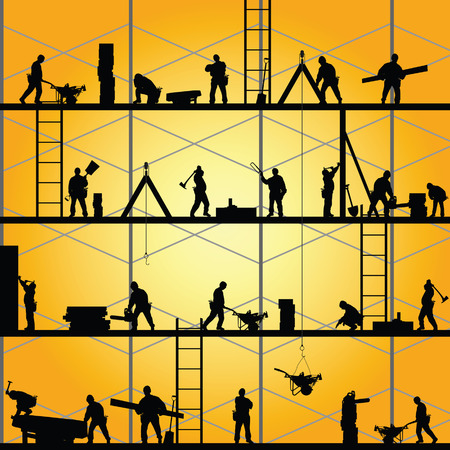 wheeled tractor: construction worker silhouette at work vector illustration Illustration