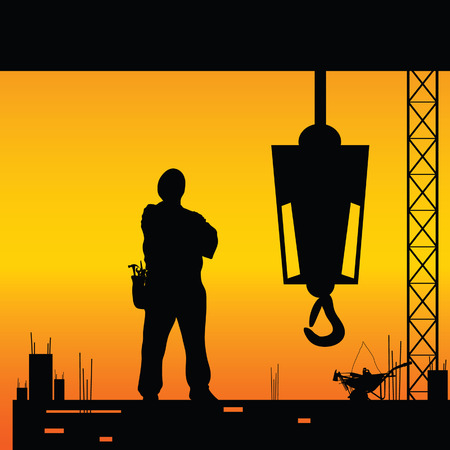 construction equipment: construction worker silhouette on the work place