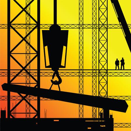 construction worker supervise the work illustration on sunshine Vector