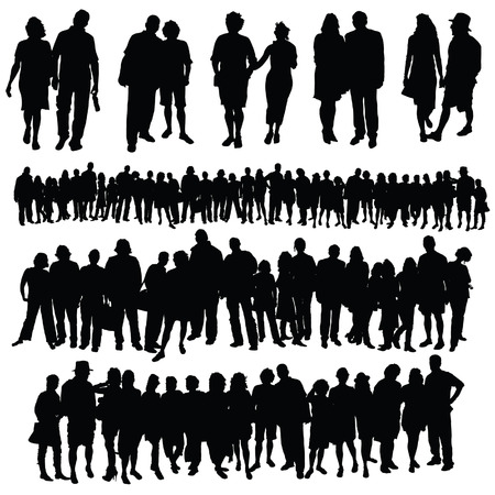 people laptop: couple and big group of people vector silhouette on a white background