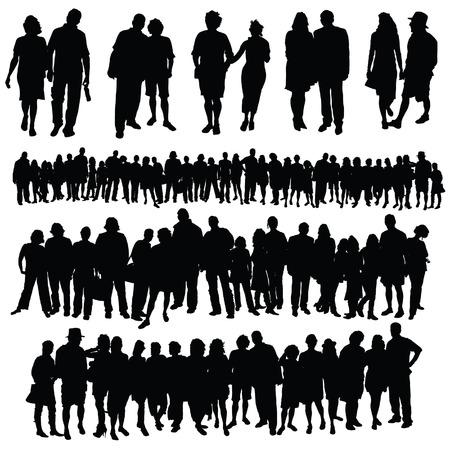 echtpaar en grote groep mensen vector silhouet op een witte achtergrond