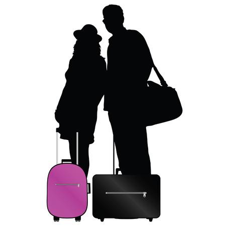 Coppia con borse di viaggiare illustrazione vettoriale su uno sfondo bianco Archivio Fotografico - 33873279