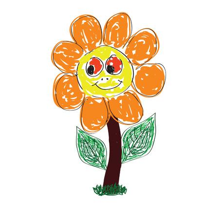 flower art: carino fiore arte illustrazione vettoriale su sfondo bianco