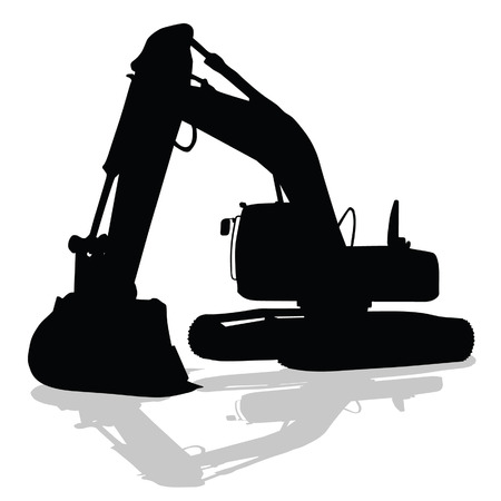digger: digger work machine black silhouette on white background Illustration