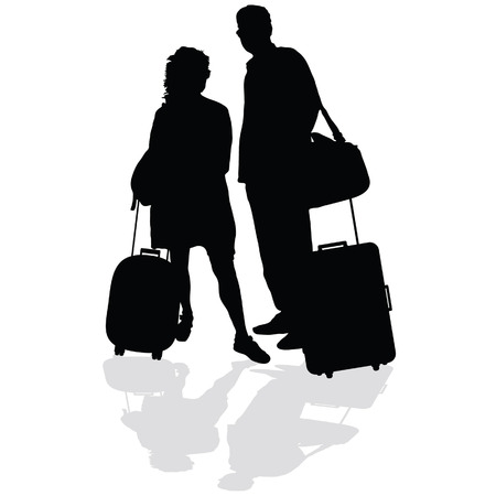 couple with a suitcase vector illustration silhouette on a white background