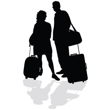 echtpaar met een koffer vector illustratie silhouet op een witte achtergrond
