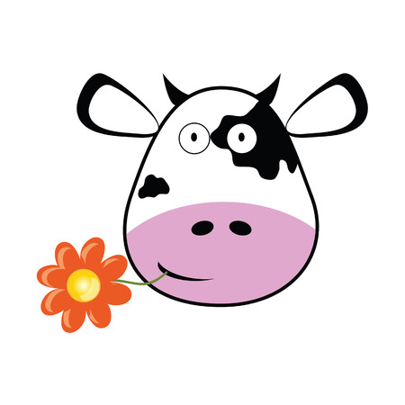 cow head with a flower vector illustration Vector