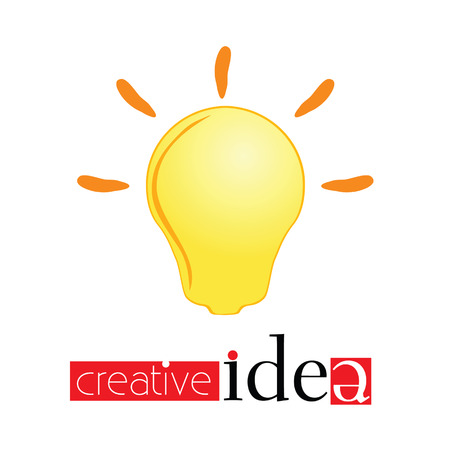 creativ: creativ idea sign with yellow light bulb vector