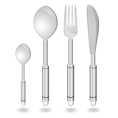 cutlery in silver color vector illustration on white Çizim