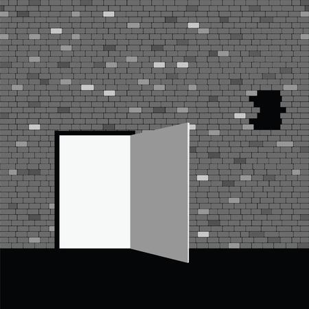 door on gray brick wall illustration eps10 Vector