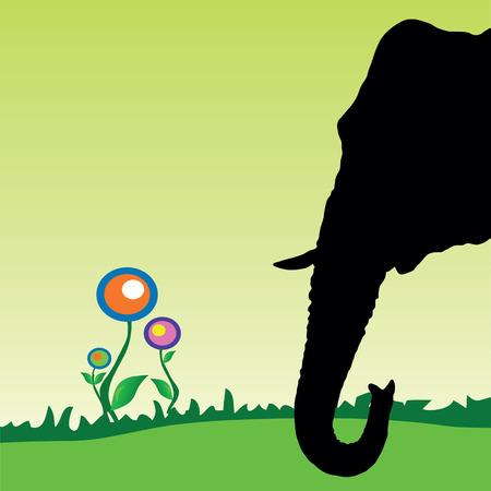 flower art: testa di elefante con fiore di arte astratta vettoriale