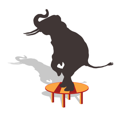 tact: elephant on the table vector illustration