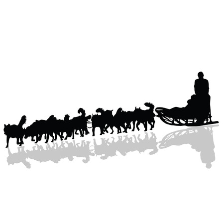 snow sled: dogs pulling a sled in black vector silhouette