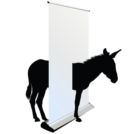 big ass: donkey through the roll up on white background Illustration