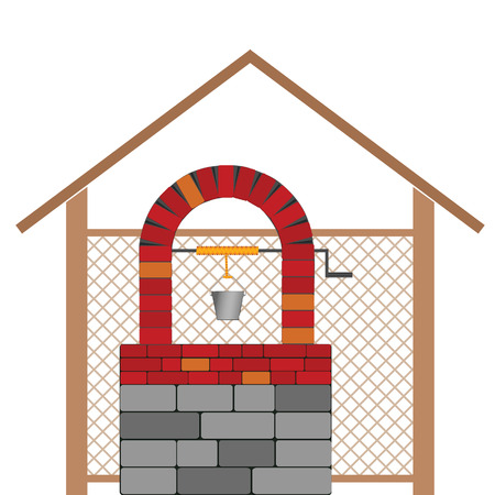 draw well vector illustration with brick on white