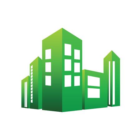 eco building: eco building green vector illustration