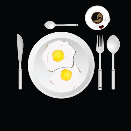 egg and cup of coffee vector illustration Vector