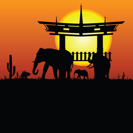 yellow hills: elephant and chinese construction silhouette illustration vector eps10