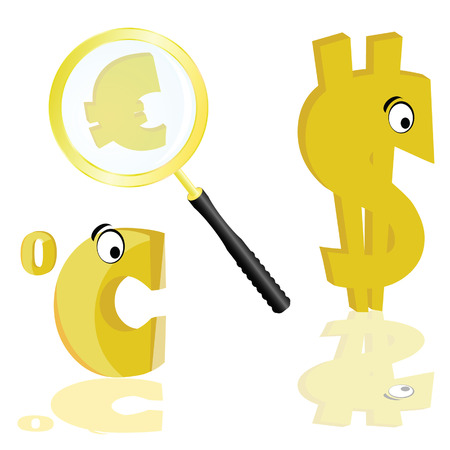 purchasing power: euro and dollar with celsius vector illustration