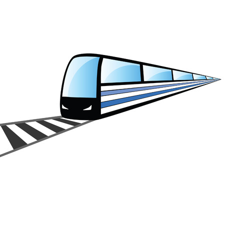 fast train: fast train on the rails vector illustration on white