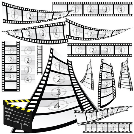 photo strip: film strip and movie clipper vector art illustration