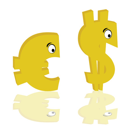euro and dollar gold color with eye vector illustration