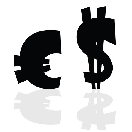 purchasing power: euro and dollar symbol in black color illustration Illustration