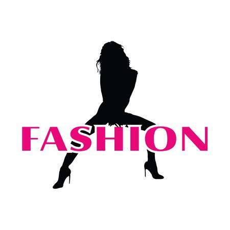 mode en zwart meisje vector silhouet illustratie op een witte achtergrond